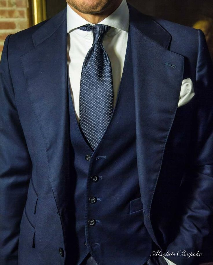 Clic Navy Bespoke 3 Piece Suit