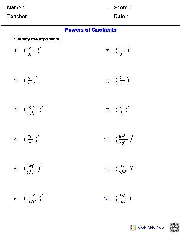 Powers of Quotients Worksheets | Math-Aids.Com