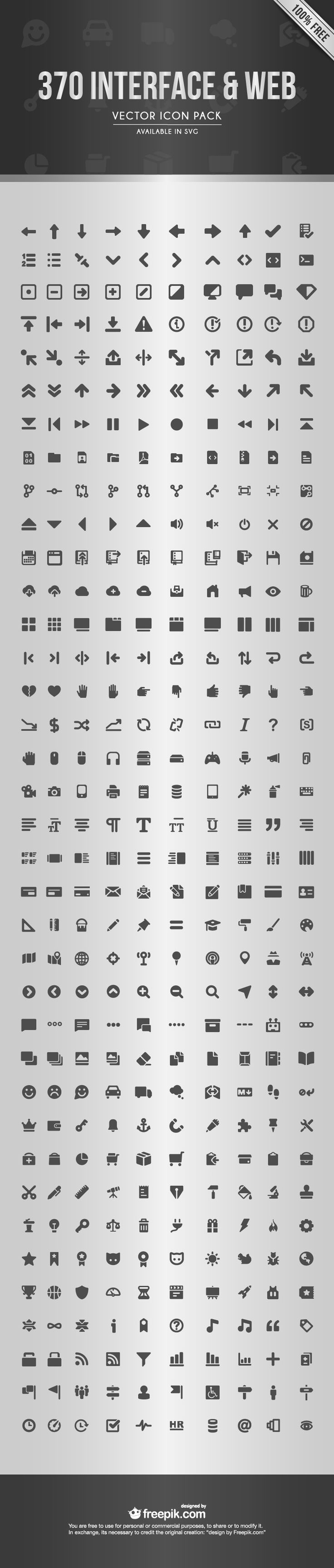 The Web Interface Icon Set (370 Icons, SVG & AI)