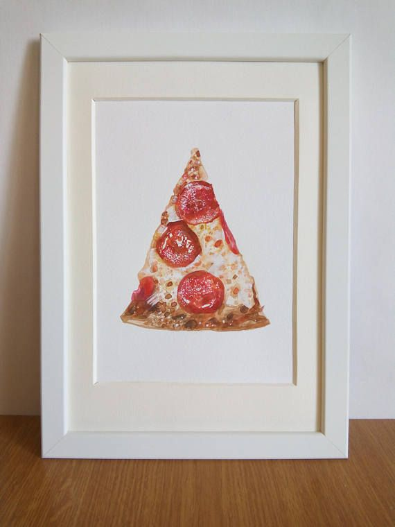 Pepperoni Pizza Illustration Original Fast Food 8x10 Slice Of Pizza Watercolor Food Gift For Him Cafe Art Food Lover Gift Red Wall Art