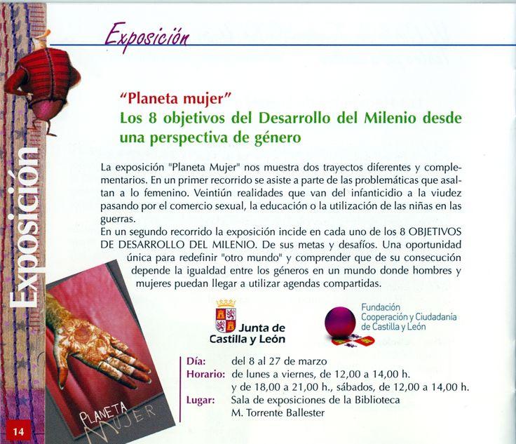 """""""Planeta mujer"""". LOs 8 objetivos del Desarrollo del Milenio desde una perspectiva de género. Exposición. del 8 al 27 de marzo de 2010"""