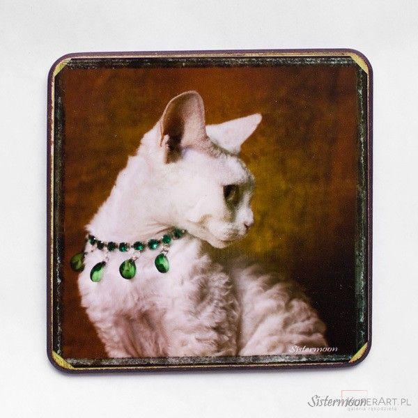 Kot podkładka fotodecoupage - Podkładki - Dekoracje wnętrz