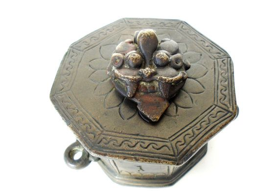 Antique Ink Pot Bronze Inkwell Devil Inkwell by AntiqueTalentArt