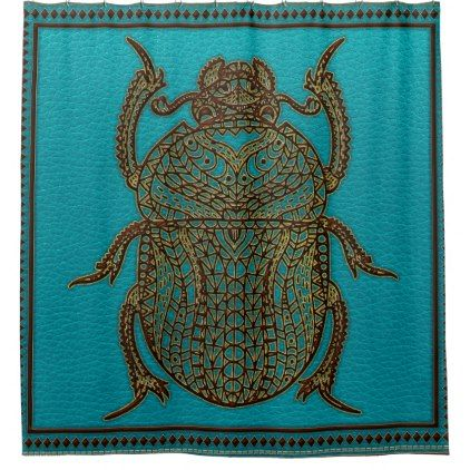 Egyptian Scarab Beetle - Leather & Gold on teal Shower Curtain - shower curtains home decor custom idea personalize bathroom