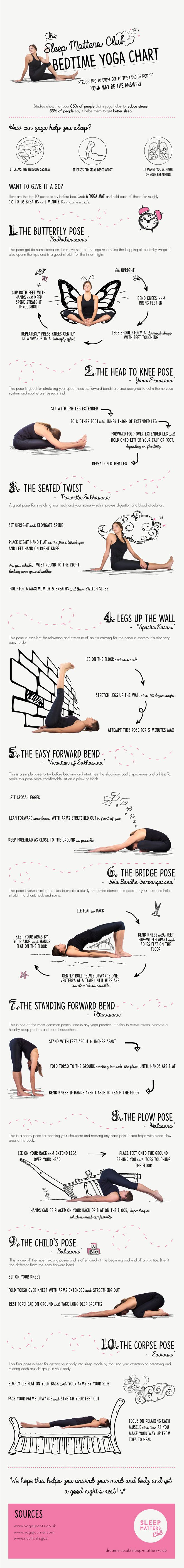 Practicing yoga before sleep can have a positive affect on your sleeping pattern. This infographic from Sleep Matters Club takes a look simple poses you can try to improve your sleep: