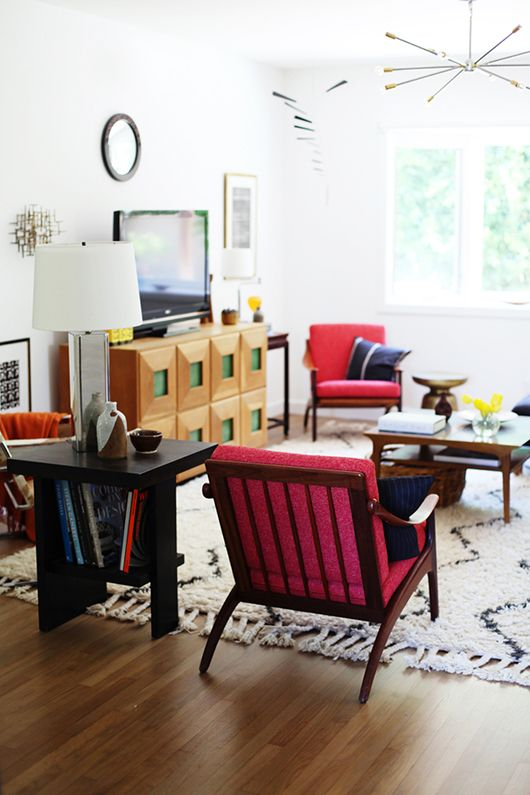 Bright pops of color mixed with vintage finds.