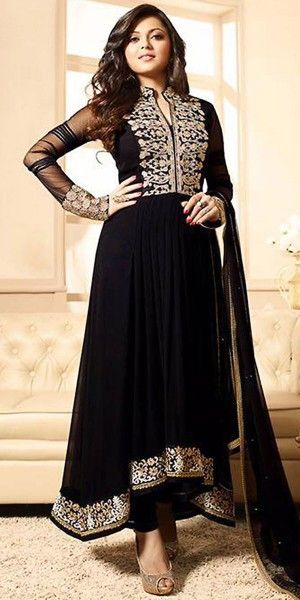 Madhubala Georgette Black And Cream Anarkali Suit With Dupatta.