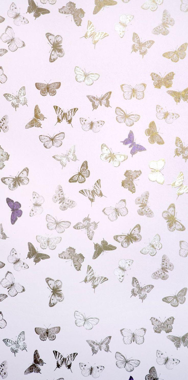 wallpaper butterfly rose/brass