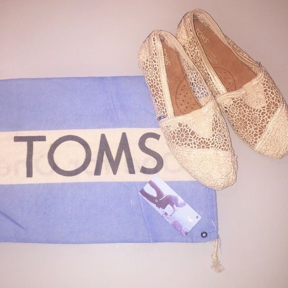 Lace TOMS Natural crochet/lace TOMS. Worn once. Perfect condition. TOMS Shoes