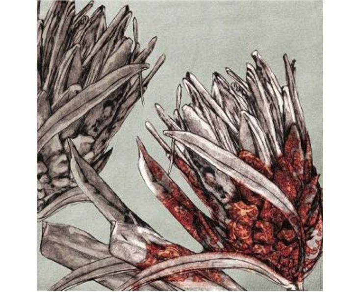 Protea GreyRed Pattern Artwork - Wall Artwork   Weylandts South Africa