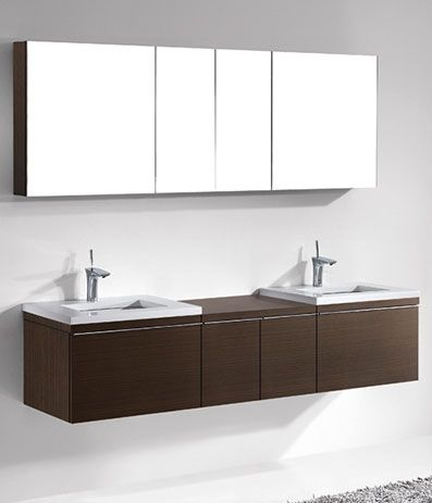 Photographic Gallery Madeli Venasca Double Bathroom Vanity with Quartzstone Top Walnut
