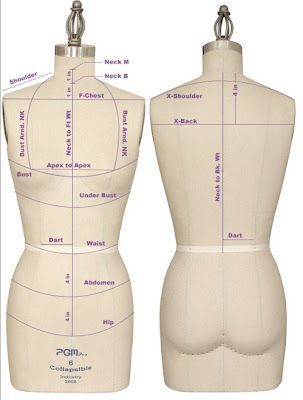 Key horizontal and vertical guide lines on the dress stand.  #FashionDraping   #1stclasspatterns