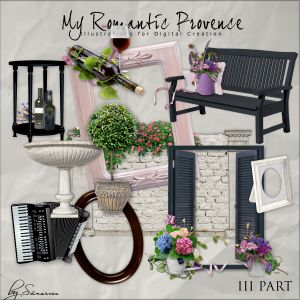 Scrapbook kit from NeareStore - My Romantic Provence 3.  This Pack is the Third Part of a series «My Romantic Provence»