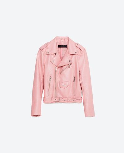 Pink leather jacket - Zara