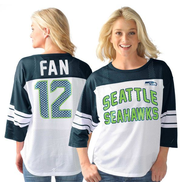 12th Fan Seattle Seahawks G-III Sports by Carl Banks Women's Play Action Name & Number Top - White - $64.99