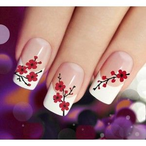 CHERRY BLOSSOMS Nail Art (CBR) 45 Red Waterslide Transfer Decal Stickers. Great over french manicure or light glitter polish.
