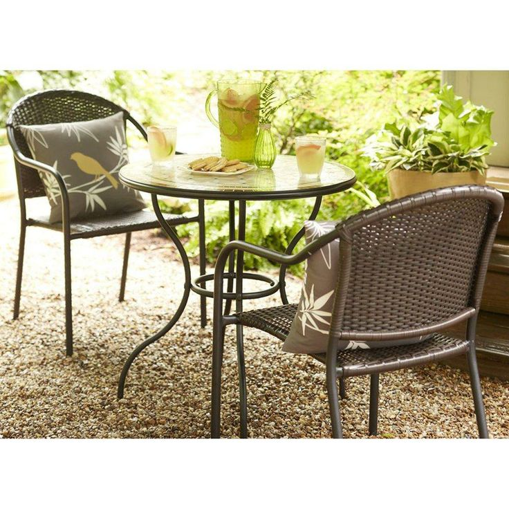 this 3 piece outdoor bistro set is comfortable with it 39 s woven back seats and perfect for small. Black Bedroom Furniture Sets. Home Design Ideas