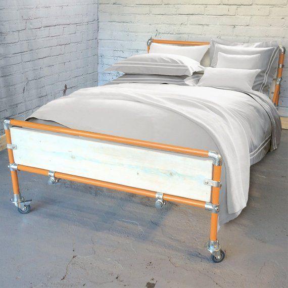 Metal Bed Frame With Storage Space Below Modern Industrial Loft