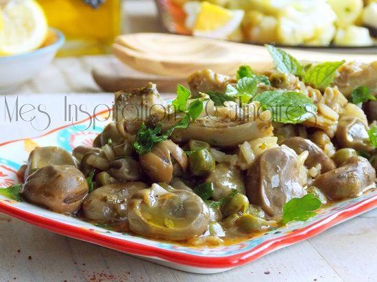 Tbikha algéroise, petits poids, fèves et fonds d\artichauds