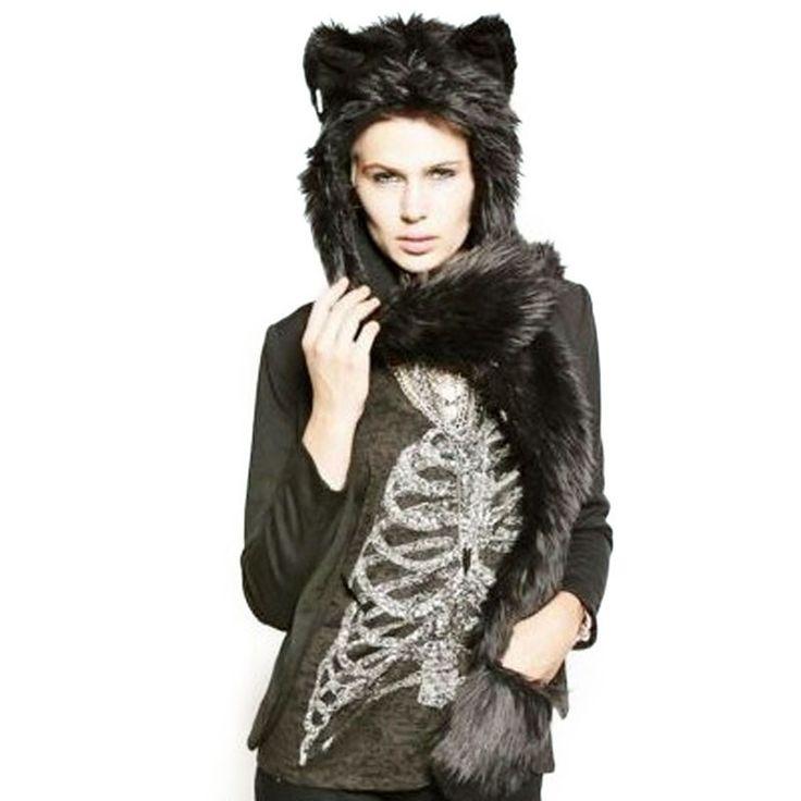 New Arrival Fahsion Warm Animal Fur Hat Scarf Fluffy Plush Cap Ear Hood Shawl Glove Unisex DM#6