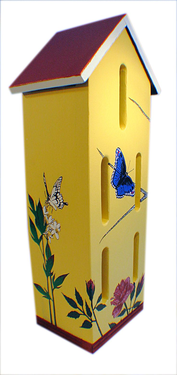 Bat house plans woodwork city free woodworking plans - A Brightly Coloured Box Will Attract Butterflies To Your Garden Giving Them Shelter From Wind And Rain Bluebird House Plans Bat