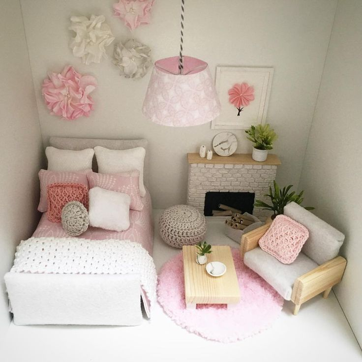 """82 Likes, 15 Comments - @a.dollhouse.designs on Instagram: """"Another shot of my lovely tiny bedroom with some pink accents. Hope you'll love it as much as I do…"""""""