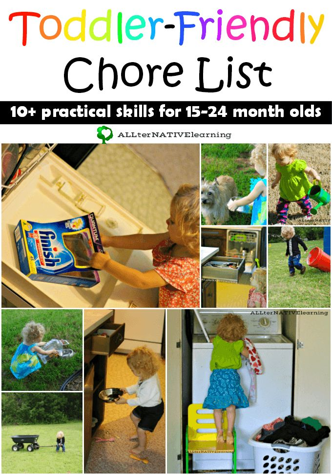 Toddler friendly chore list for 15 to 24 month olds {Including helping with the dishwasher, doing laundry, and more}