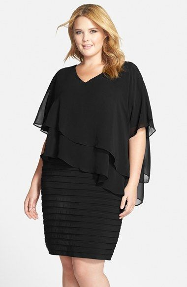 Free shipping and returns on Adrianna Papell Tiered Chiffon & Shutter Pleat Jersey Dress (Plus Size) at Nordstrom.com. Floaty, asymmetrical chiffon tiers are shaped into a cape-like bodice to bring soft, fluttery contrast to a lovely V-neck dress finished with a slim, shutter-pleat jersey skirt. Short kimono sleeves enhance the flattering wedge silhouette.