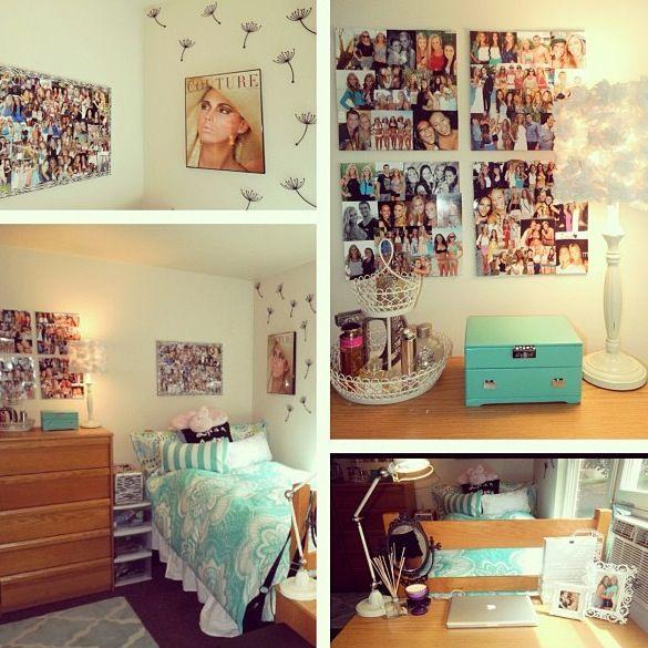 Dorm room #college #dorm #design #simple #cute #organized #photo #personalized #tiffany #blue #desk