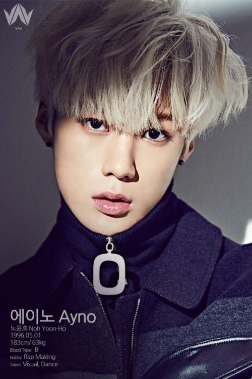"VAV - AYNO PROFILE  ""  에이노 Ayno  노윤호 Noh Yoon-Ho  1996.05.01  183cm / 63kg  blood type: B  hobby: rap making  talent: visual, dance  """