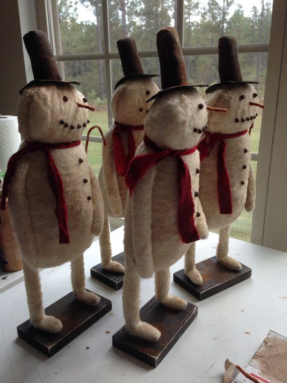 Primitive Grungy Frosty Snowman Christmas/Winter by TheWoodenNail