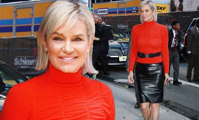 Hell for leather! Yolanda Hadid looks incredible in age-defying ensemble as she promotes her explosive new tell-all memoir focusing on her prolonged battle with Lyme disease