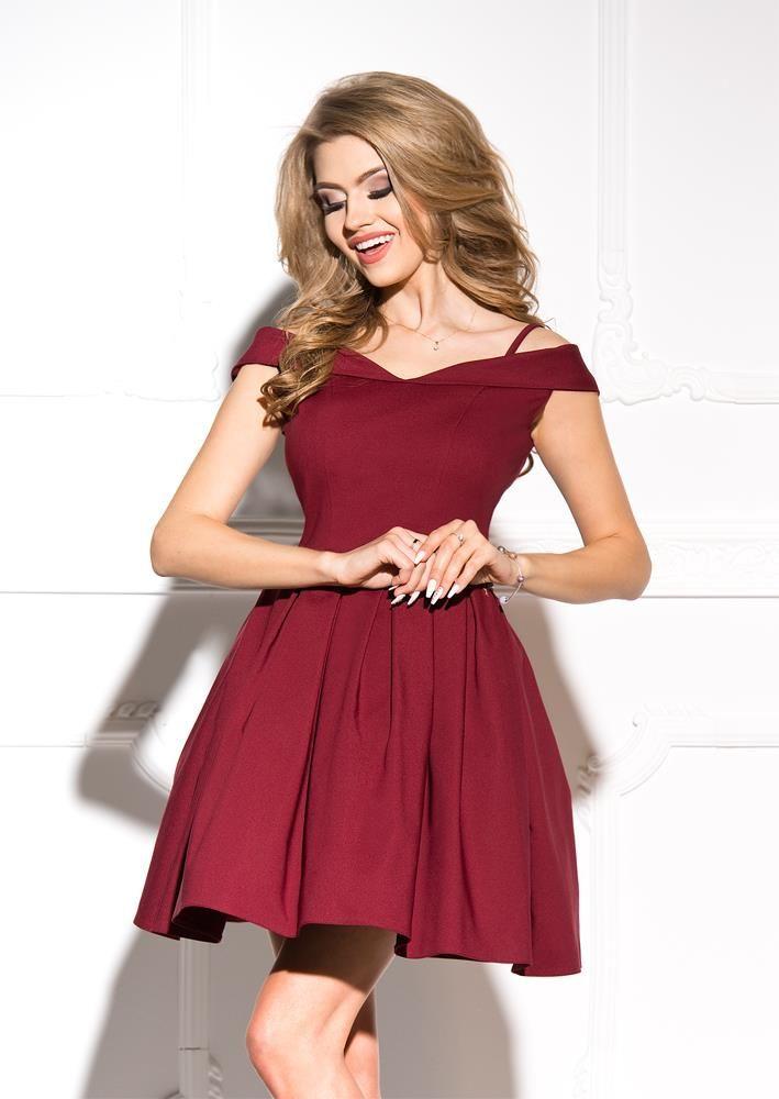 26300c3448 Rozkloszowana Sukienka z Opadającymi Ramiączkami Bordowa SHE24 ...