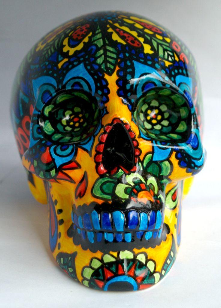 Sugar Skull Money Box-Día de Muertos Skull Money Box-Ceramic Money Box-Money Tin-3D Sugar Skull-3D Skull-Bright Zendoodle-Zentangle by ArniesArtwork on Etsy https://www.etsy.com/listing/228146004/sugar-skull-money-box-dia-de-muertos