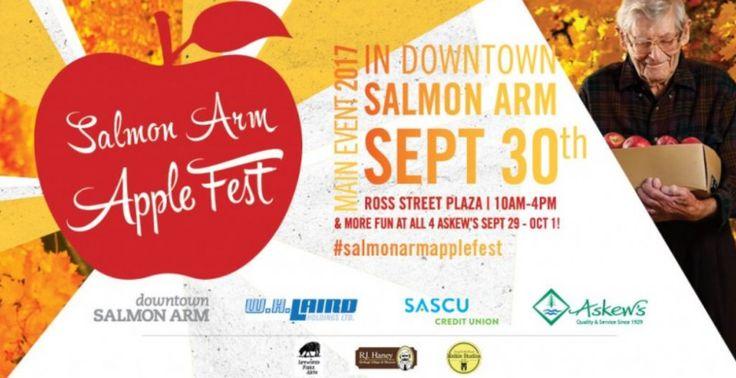 Head to Downtown Salmon Arm this Saturday Sept 30th from 10-4 for the 3rd Annual Salmon Arm Apple Fest!  #shuswap #salmonarm #salmonarmapplefest