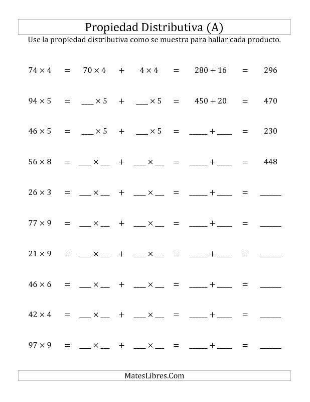 Propiedad Distributiva, Producto de Dos Dígitos por Un Dígito (A)                                                                                                                                                     Más