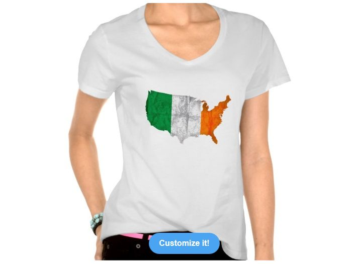 USA map with Irish flag Women's Hanes Nano V-Neck T-Shirt