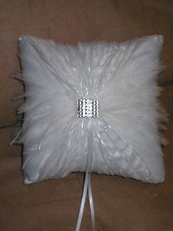 White Ring Bearer Pillow with Feathers by yesteryearglam on Etsy, $23.95