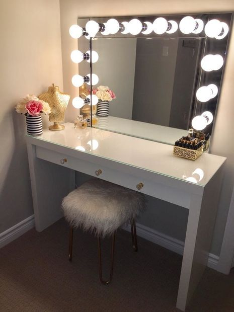 Vanity Mirror Table With Lights: VANITY MIRROR WITH DESK & LIGHTS,Lighting