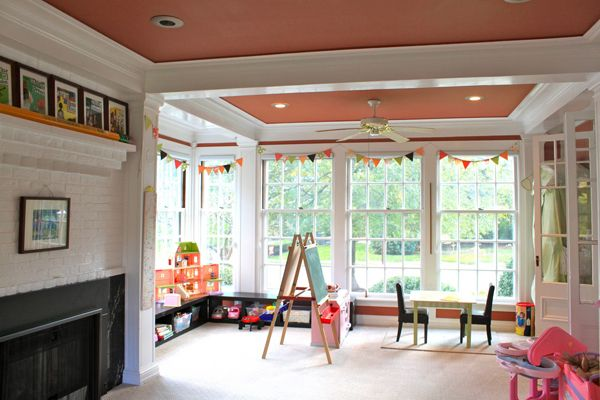 kids playroom with fireplaces 35 Awesome Kids Playroom Ideas