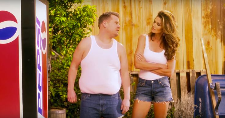 "Cindy Crawford and James Corden Parody the Supermodel's Famous '90s Pepsi Commercial. The funny remake aired post-Super Bowl on ""The Late Late Show with James Corden."""