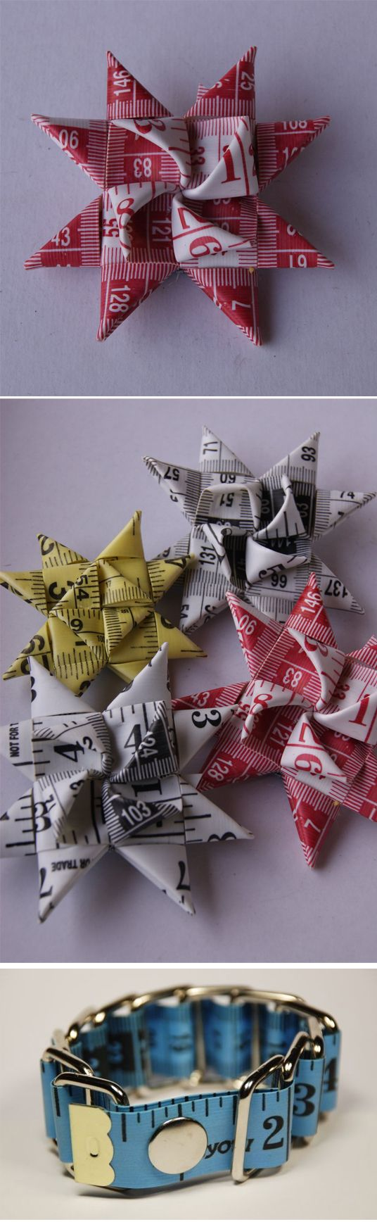 Measuring Tape Star - Made Swedish stars with paper strips as a girl.... What a great idea!
