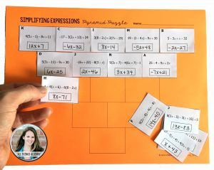 Simplifying Expressions Pyramid Sum Puzzle