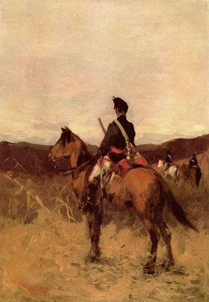 """Romanian """"Roşior"""" Cavalryman, 19th century painting by Nicolae Grigorescu"""