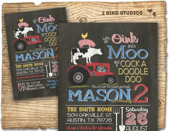 Barnyard Birthday Party invitation with a farm animal stack (!) done in our popular chalkboard style... www.2birdstudios.etsy.com for more birthday