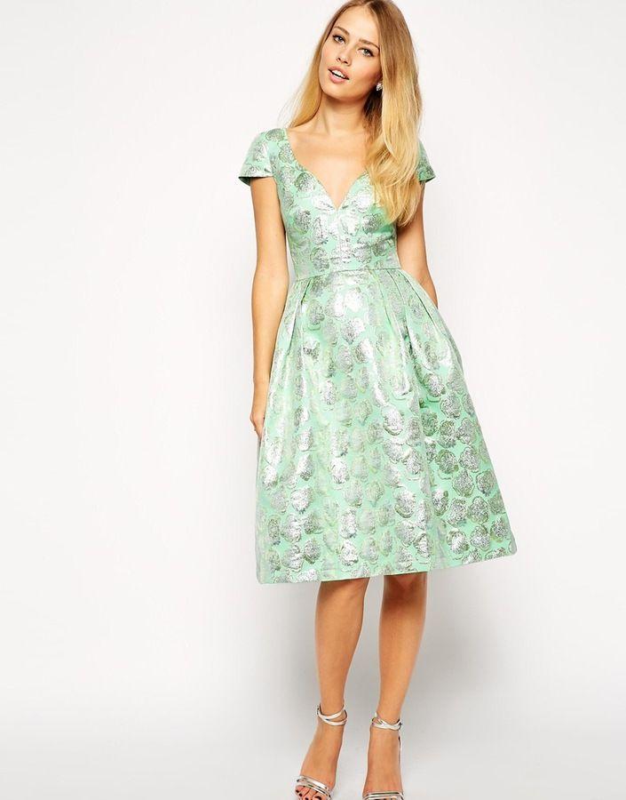 ASOS COLLECTION ASOS Deep Plunge Metallic Prom Dress