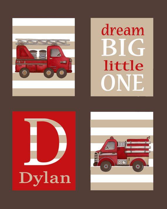 fire truck art firetruck art children's boys by theprincessandpea