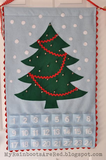 Felt Advent Calendar with tiny wooden ornaments!