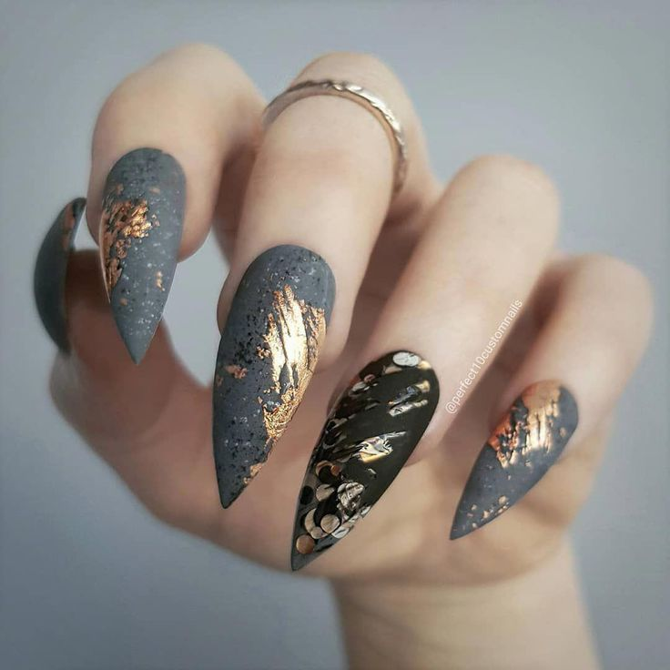 Nail Stylist // Luxe press-ons (@perfect10customnails) в Instagram: «concrete // copper» #acrylicnaildesigns