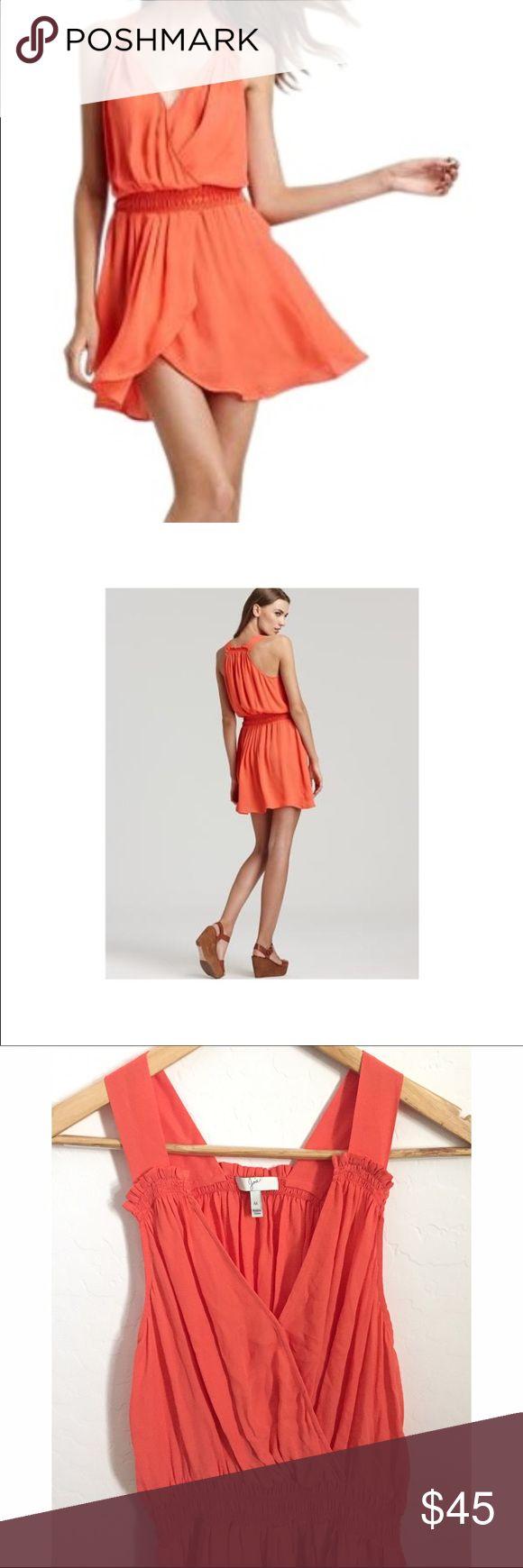 Joie Faux Wrap 'summer' Dress Gorgeous, flattering coral color, 100% silk, unlined, elastic waist  Front snap button closure, front wrap detail. Size medium Joie Dresses